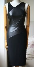 ROLAND MOURET ARLEY LEATHER FRONT BLACK DRESS US 2 UK 6