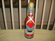 Vintage Bowling Pin Attached To Coffee Tin-Painted Soldier-Drummer-British-ODD