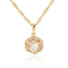 Vintage Womens 14K Gold Plated White Crystal Flower Pendant Free Shipping