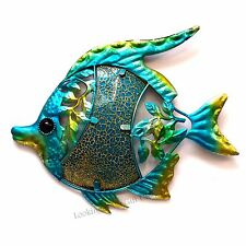 FISH BLUE Metal & Glittered Glass Wall Art for Indoor or Outdoor use