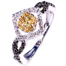1.25ct RAW REAL WHITE & GOLDEN NATURAL DIAMOND .925 SILVER RING SIZE 8 see video