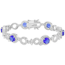Rhodium Plated Special Occasion Elegant Blue & Clear CZ Women's Bracelet