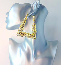 Gorgeous gold tone triangle shaped bamboo creole hoop earrings - Big hoops!  #B1