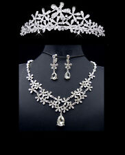 Enchanting Silver Snowflake Crystal Star Flower Teardrop Necklace Set w Tiara