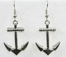 "Classic anchor dangle drop earrings silver 1.25"" nautical ship ahoy sea sailor"