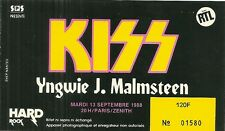 RARE / TICKET CONCERT - KISS / YNGWIE J. MALMSTEEN LIVE A PARIS ( FRANCE ) 1988