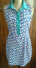 Boutique dress blue white waves w green trim anthropologie M