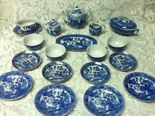 1950s, Japan, Blue Willow, 21-pc XL Size, Child's Tea Set-Tureen, Gravy, Platter