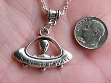 "ALIEN Necklace Flying Saucer Charm MAN from MARS ""I WANT TO BELIEVE""  20"" NEW!"