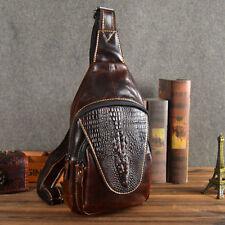 Men Messenger Chest Bag Genuine Leather Crocodile Pattern Shoulder Sling Pack