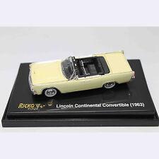 HO 1:87 RICKO 38322 1963 Ford Lincoln Continental Convertible Sedan - Yellow