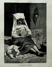 1877: ROMA, PICCOLA MENDICANTE ROMANA.LAZIO.Xilo o in Passepartout ETNA