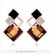 Classic Fashion Champagne Crystal Vintage Stud Earrings For Women Girls Gift