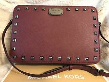 NWT MICHAEL KORS LEATHER SAFFIANO STUD LARGE EW CROSSBODY BAG IN MERLOT