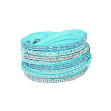 Fashion Leather Wrap Wristband Cuff Punk Crystal Rhinestone Bracelet Bangle New
