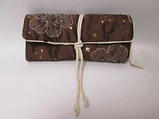 Chocolate Brown Flower Sparkly Sequin Jewellery Wrap Roll Organizer Travel #7F2