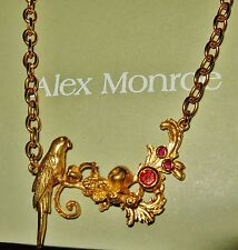 ALEX MONROE £225 PARROT GEMSTONE STATEMENT NECKLACE 22CT GOLD ON STERLING SILVER