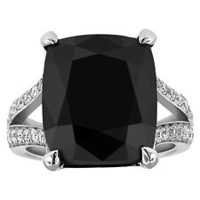 18.01 ct CUSHION cut 18K white gold created black diamond engagement ring D VS1