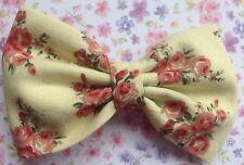 """NEW SMALL FLORAL FLOWER PRINT COTTON FABRIC 3"""" BOW HAIR CLIP CUTE VINTAGE RETRO"""