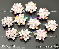 10pcs Alloy Nail Art Tips Decorations Gorgeous White Flower AB Rhinestones#CA203