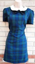 PRIMARK BLACK BLUE GREEN CHECK TARTAN CHECKED A LINE BOW TEA PUNK DRESS 16 XL