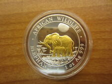 2011 Somalia Elephant Gilded Silver Coin 1 Oz Gilded in Gold