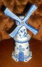 Windmill porcelain bottle w cork top Hand Painted HOLLAND Bottle ONLY