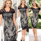 Womens Bodycon Cocktail Lace Dress Ladies Evening Party Dress Size 8 - 16