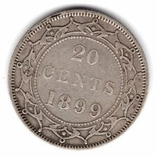 1899 Large 99 Newfoundland Canada 20 Cents .925 Silver Coin A89