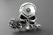 LARGE 3D SKULL & ROSE  BELT BUCKLE METAL