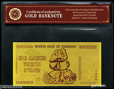 ZIMBABWE 100 Trillion Dollars 24k Gold Plated Banknote with COA (n43g)
