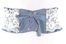 D04 White Lace Light Blue Denim Corset Tie Cinch Stretch Belt OS S M L