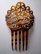 VINTAGE FAUX FANCY CARVED TORTOISE SHELL LARGE HAIR COMB