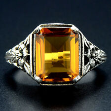 3CT Golden Citrine 925 Solid Sterling Silver Edwardian Style Ring Sz 8, F3-7