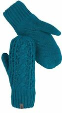 NEW NORTHFACE Cable Knit Mittens Mitt $45 Retail Ladies L/XL Teal Blue