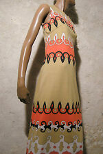 CHIC VINTAGE ROBE LONGUE JERSEY 1970 VTG MAXI DRESS 70s KLEID 70er ABITO (38/40)