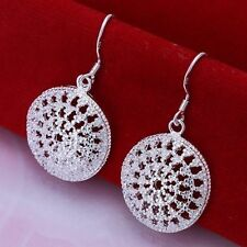 Pretty New 925 Sterling Silver Plated Large Cut Out Circle Disc Dangle Earrings