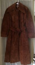 Womens Leather Brown Suede Long Car Coat Trench Jacket made in Romania Small