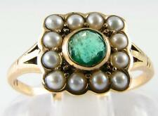 DAINTY 9K GOLD ENGLISH ART DECO EMERALD & PEARL RING