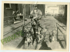 "1930's Photo-9 1/2"" x 7""-Man With Shotgun - Dog-Rabbits on Pole - Hot Dog Sign"