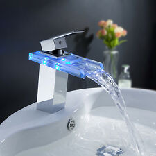 Modern LED Temperature Sensor Brass Waterfall Bathroom Sink Faucet GLASS SPOUT