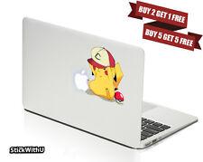 Macbook Air Pro Vinyl Skin Sticker Decal Pokemon Go Pikachu Hat Anime BN087