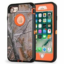 For iPhone 7 Defender Case AP Blaze Orange w/ Screen & Holster Fits Otterbox