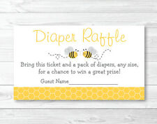 Yellow & Grey Bumble Bee Printable Baby Shower Diaper Raffle Tickets