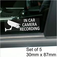5 x In Car Camera Recording Stickers-Standard CCTV Signs-Go Pro,Dashcam-Taxi,Cab