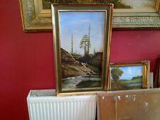 Bien temprano 20th C, Francés Enmarcado óleo sobre panel. Río y Paisaje Vista. firmado