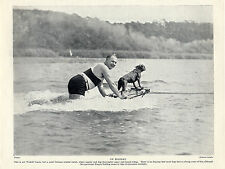 SURF BOARDING FRENCH BULLDOG AND OWNER GREAT OLD ORIGINAL IMAGE 1934 PRINT PAGE