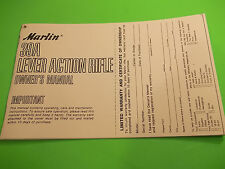 Marlin Model 39A Lever Action Rifle Owners Manual  - Twelve pages good info