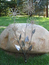 Garden Art Handmade Rust FLOWERS Decore Ornament Welded Steel Sculpture Deck