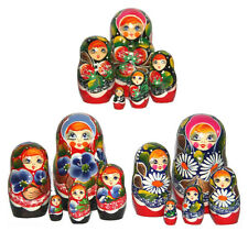 Lot 3 Sets Matryoshka Wooden Nesting Stacking Handmade Russian Dolls, Set 5pc